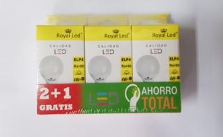 LAMPARA ILUMINACION ROYAL LED LED ESFERICA 6400K E27 4W 400LM 111883 3 PZ